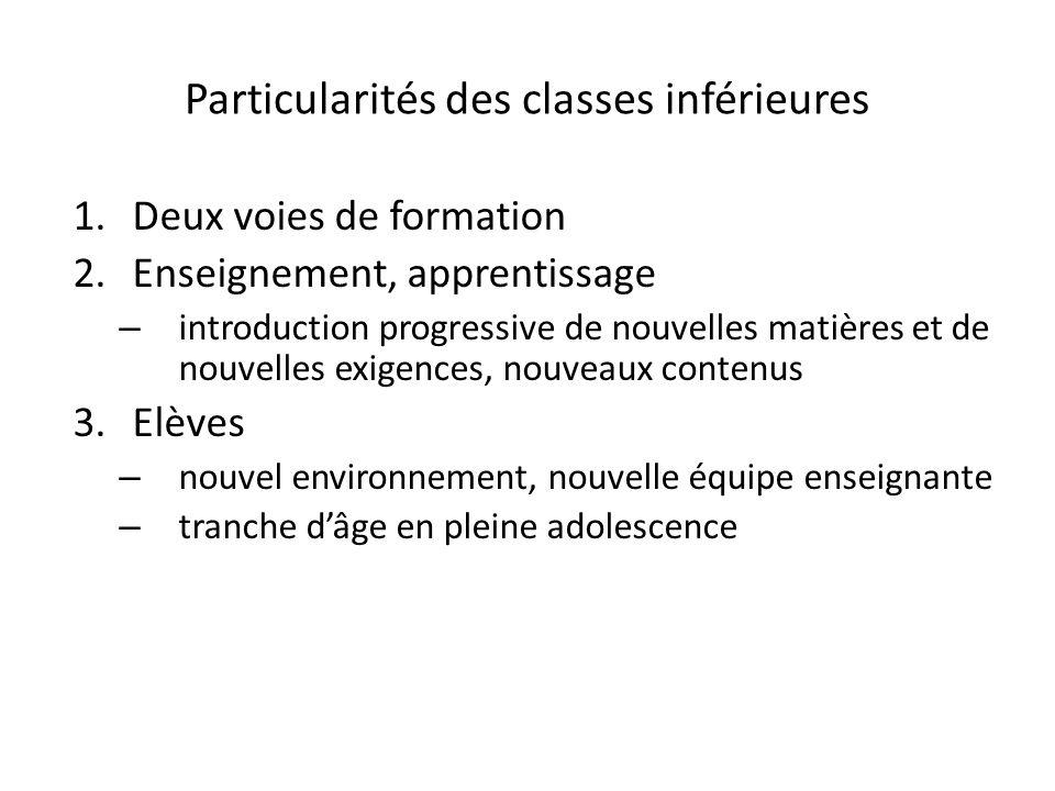 Particularités des classes inférieures 1.Deux voies de formation 2.Enseignement, apprentissage – introduction progressive de nouvelles matières et de