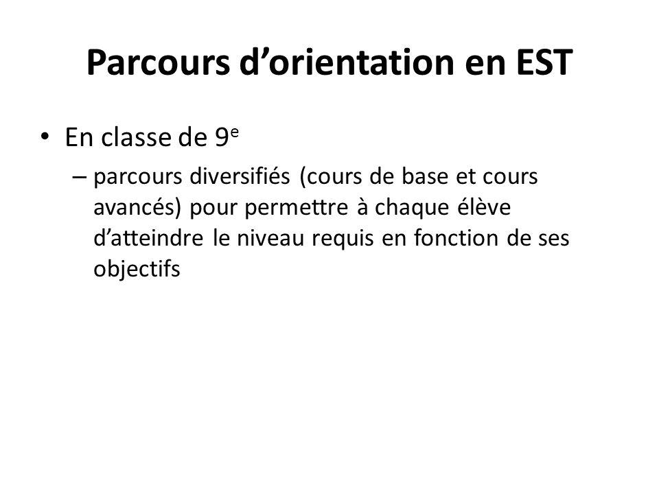 Parcours dorientation en EST En classe de 9 e – parcours diversifiés (cours de base et cours avancés) pour permettre à chaque élève datteindre le nive