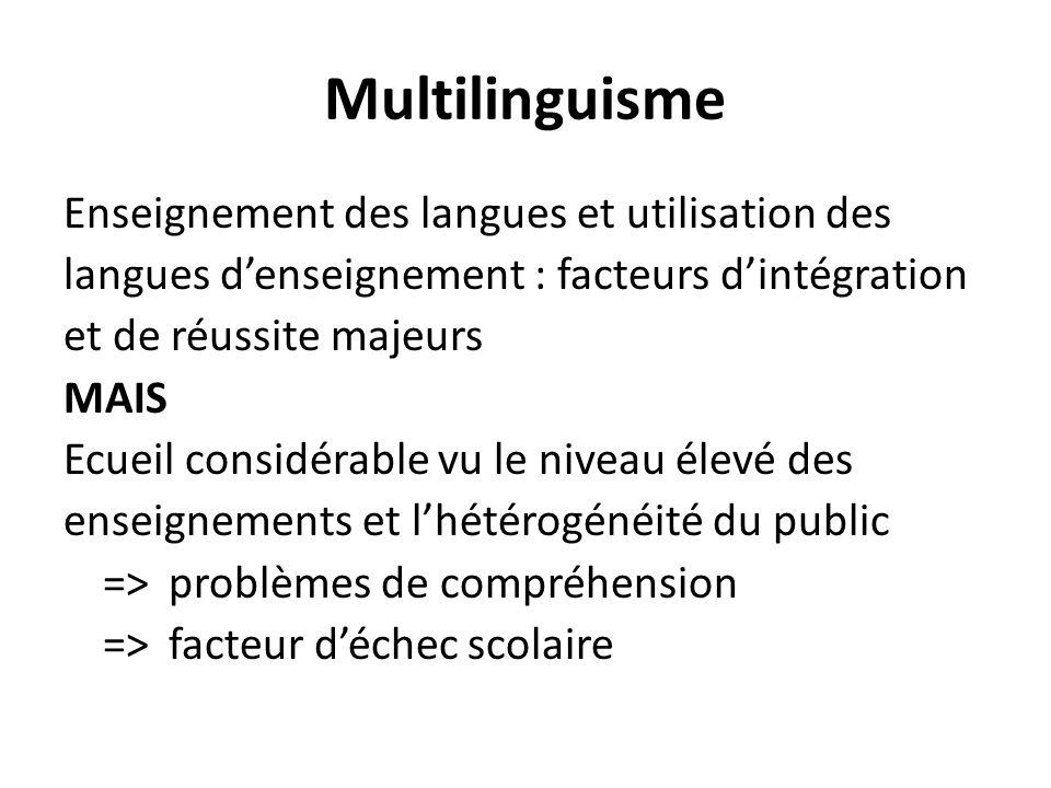 Multilinguisme Enseignement des langues et utilisation des langues denseignement : facteurs dintégration et de réussite majeurs MAIS Ecueil considérab