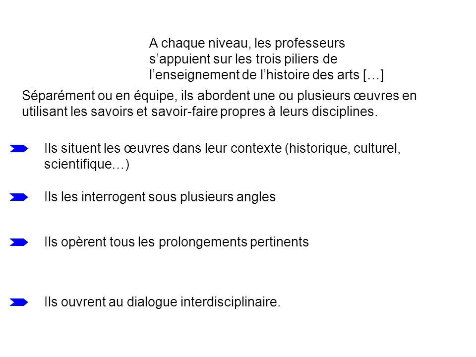 A chaque niveau, les professeurs sappuient sur les trois piliers de lenseignement de lhistoire des arts […] Séparément ou en équipe, ils abordent une