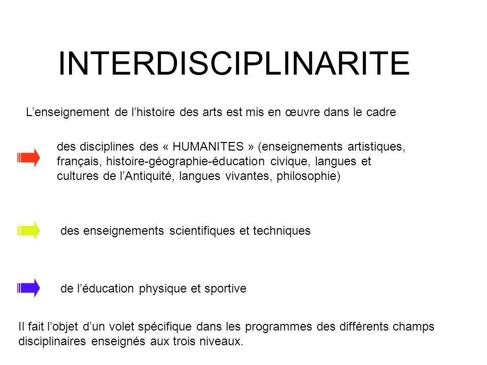 INTERDISCIPLINARITE des disciplines des « HUMANITES » (enseignements artistiques, français, histoire-géographie-éducation civique, langues et cultures
