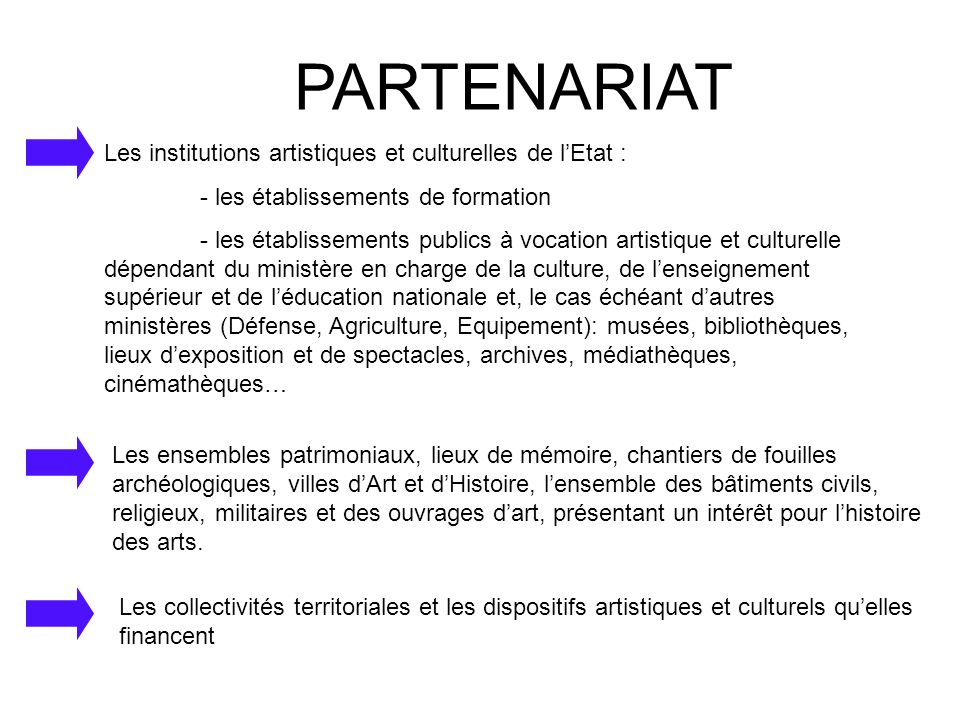 PARTENARIAT Les institutions artistiques et culturelles de lEtat : - les établissements de formation - les établissements publics à vocation artistiqu