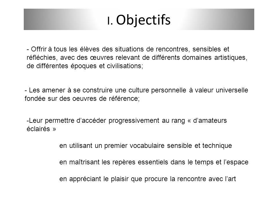 I. Objectifs - Offrir à tous les élèves des situations de rencontres, sensibles et réfléchies, avec des œuvres relevant de différents domaines artisti