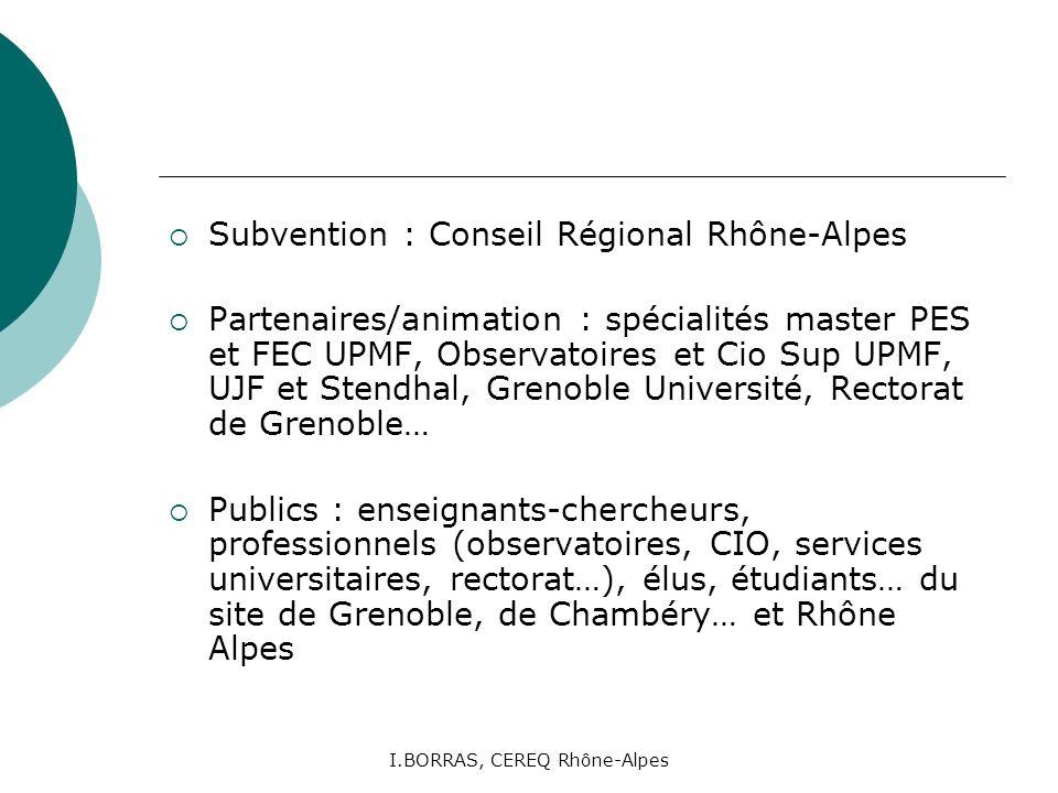 I.BORRAS, CEREQ Rhône-Alpes Subvention : Conseil Régional Rhône-Alpes Partenaires/animation : spécialités master PES et FEC UPMF, Observatoires et Cio