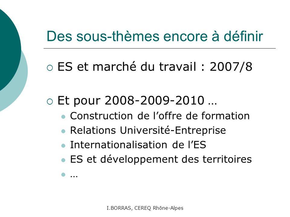 I.BORRAS, CEREQ Rhône-Alpes Des sous-thèmes encore à définir ES et marché du travail : 2007/8 Et pour 2008-2009-2010 … Construction de loffre de forma