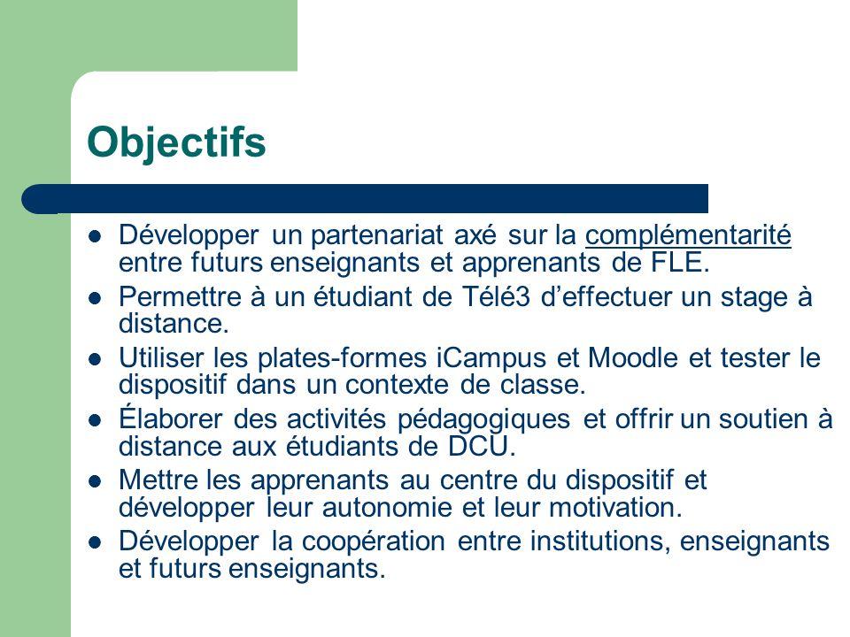 Objectifs Développer un partenariat axé sur la complémentarité entre futurs enseignants et apprenants de FLE. Permettre à un étudiant de Télé3 deffect