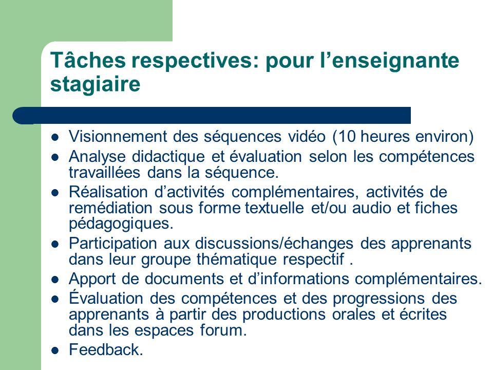 Tâches respectives: pour lenseignante stagiaire Visionnement des séquences vidéo (10 heures environ) Analyse didactique et évaluation selon les compétences travaillées dans la séquence.