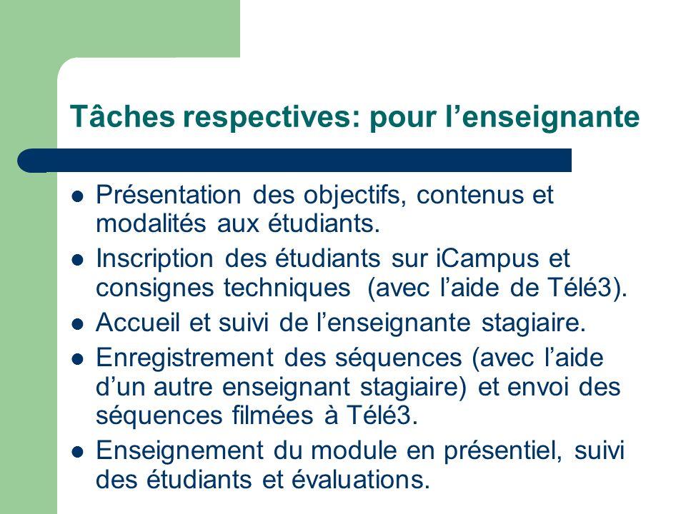 Tâches respectives: pour lenseignante Présentation des objectifs, contenus et modalités aux étudiants. Inscription des étudiants sur iCampus et consig