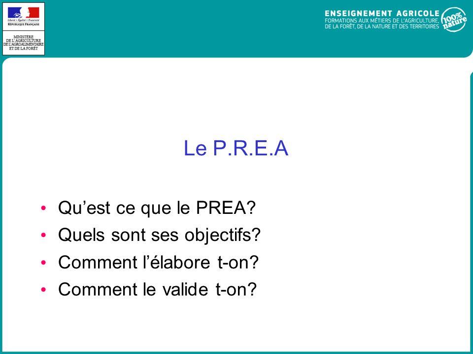 Le P.R.E.A Quest ce que le PREA? Quels sont ses objectifs? Comment lélabore t-on? Comment le valide t-on?