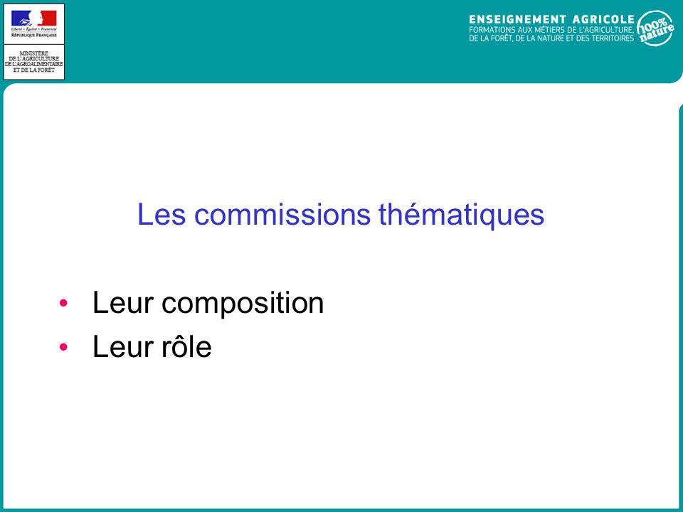 Les commissions thématiques Leur composition Leur rôle