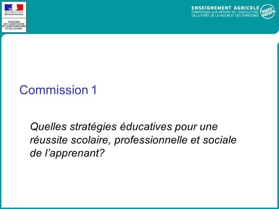Commission 1 Quelles stratégies éducatives pour une réussite scolaire, professionnelle et sociale de lapprenant?