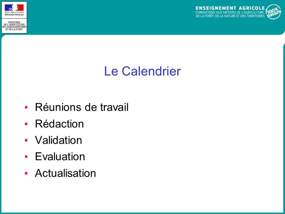 Le Calendrier Réunions de travail Rédaction Validation Evaluation Actualisation