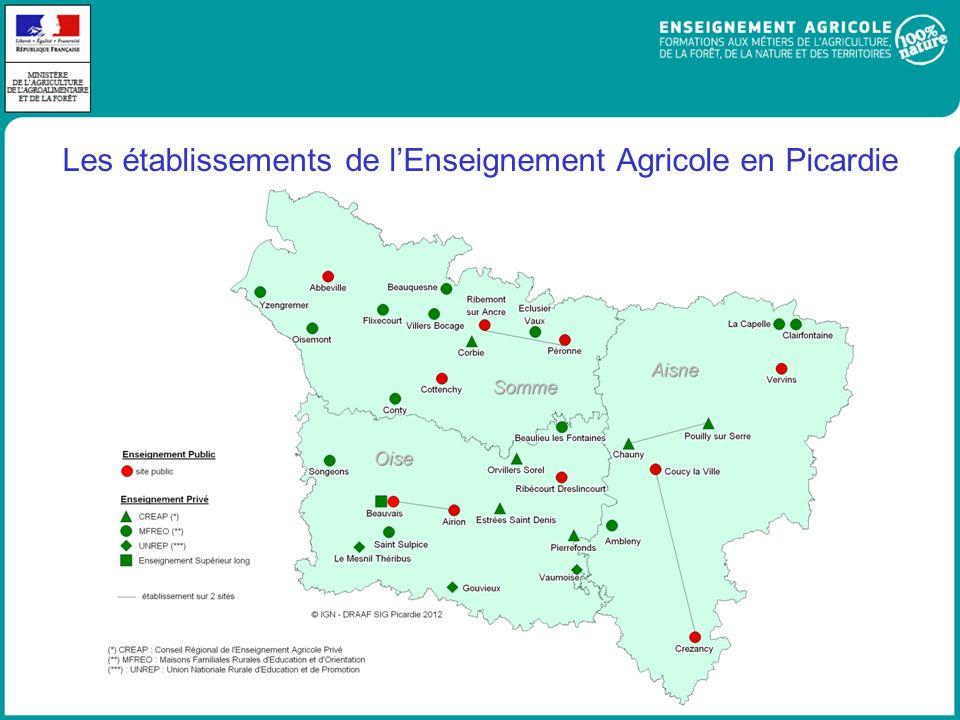 Les établissements de lEnseignement Agricole en Picardie