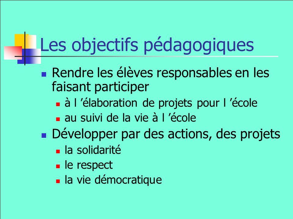 Les objectifs pédagogiques Rendre les élèves responsables en les faisant participer à l élaboration de projets pour l école au suivi de la vie à l école Développer par des actions, des projets la solidarité le respect la vie démocratique