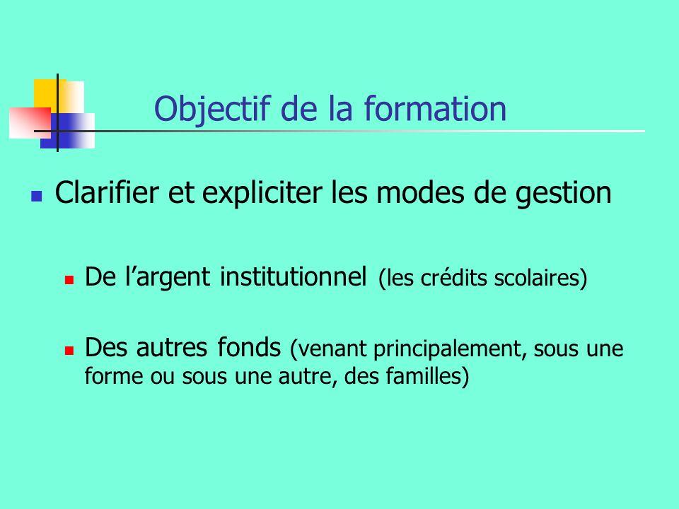 Objectif de la formation Clarifier et expliciter les modes de gestion De largent institutionnel (les crédits scolaires) Des autres fonds (venant principalement, sous une forme ou sous une autre, des familles)