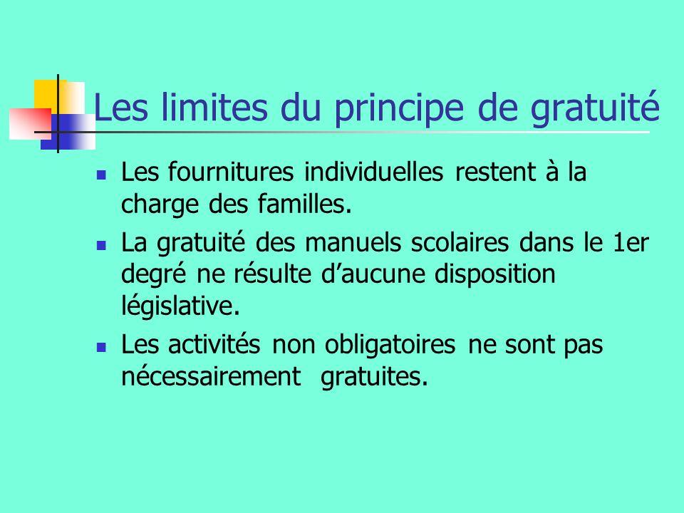 Les limites du principe de gratuité Les fournitures individuelles restent à la charge des familles.