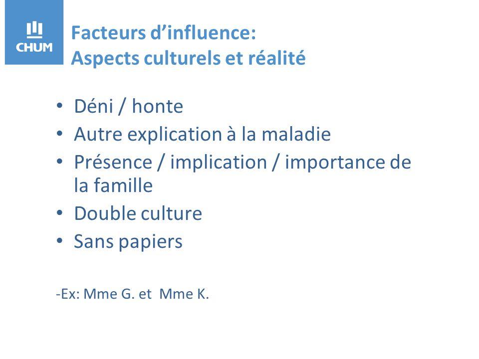 Facteurs dinfluence: Aspects culturels et réalité Déni / honte Autre explication à la maladie Présence / implication / importance de la famille Double culture Sans papiers -Ex: Mme G.