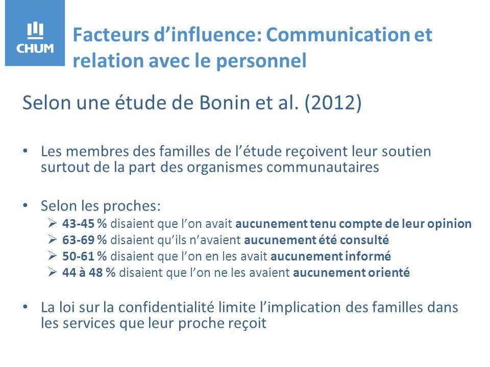 Facteurs dinfluence: Communication et relation avec le personnel Selon une étude de Bonin et al.