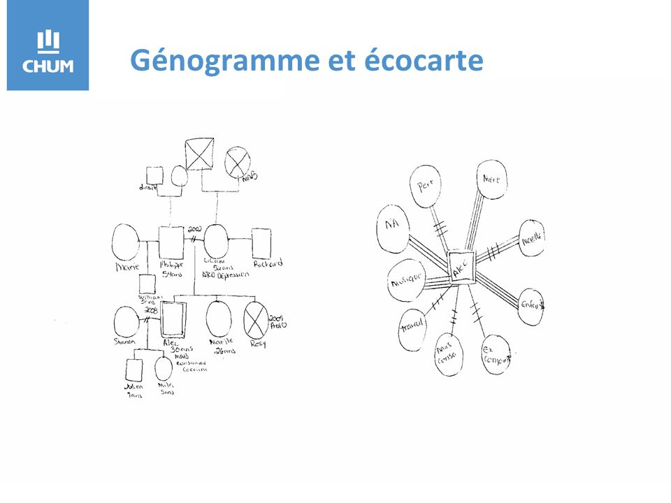 Génogramme et écocarte