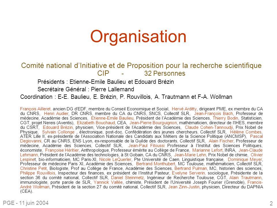 Organisation Comité national dInitiative et de Proposition pour la recherche scientifique CIP - 32 Personnes Présidents : Etienne-Emile Baulieu et Edouard Brézin Secrétaire Général : Pierre Lallemand Coordination : E-E.