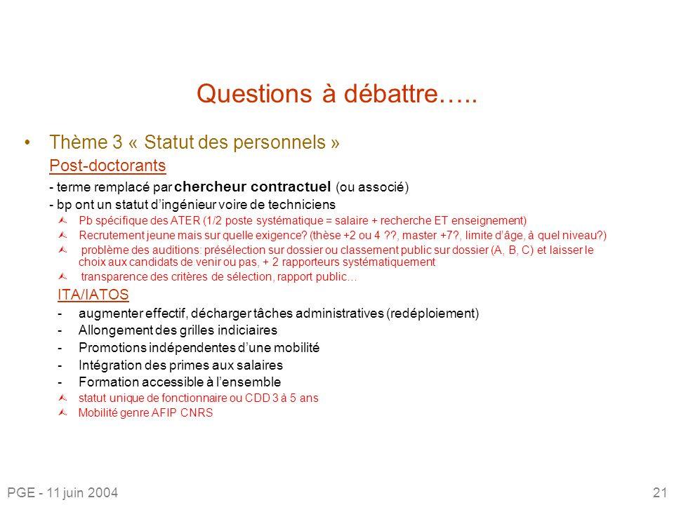Questions à débattre…..