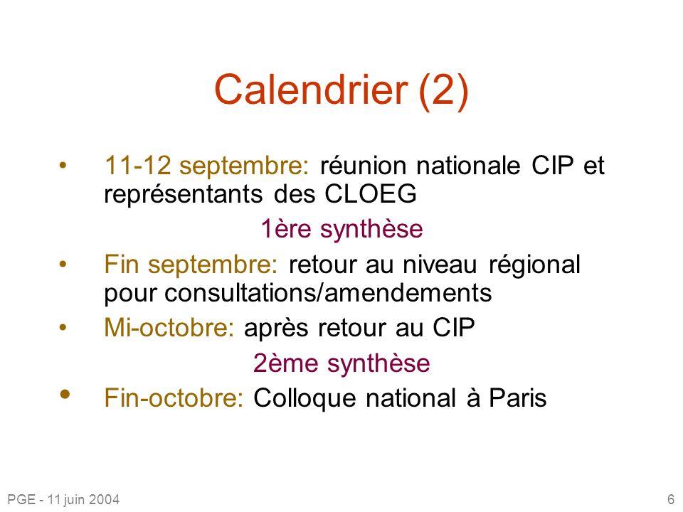 Calendrier (2) 11-12 septembre: réunion nationale CIP et représentants des CLOEG 1ère synthèse Fin septembre: retour au niveau régional pour consultations/amendements Mi-octobre: après retour au CIP 2ème synthèse Fin-octobre: Colloque national à Paris PGE - 11 juin 20046