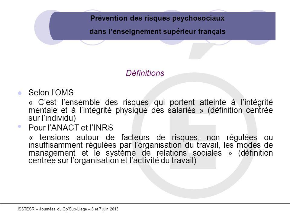Prévention des risques psychosociaux dans lenseignement supérieur français ISSTESR – Journées du GpSup-Liege – 6 et 7 juin 2013 Définitions Selon lOMS