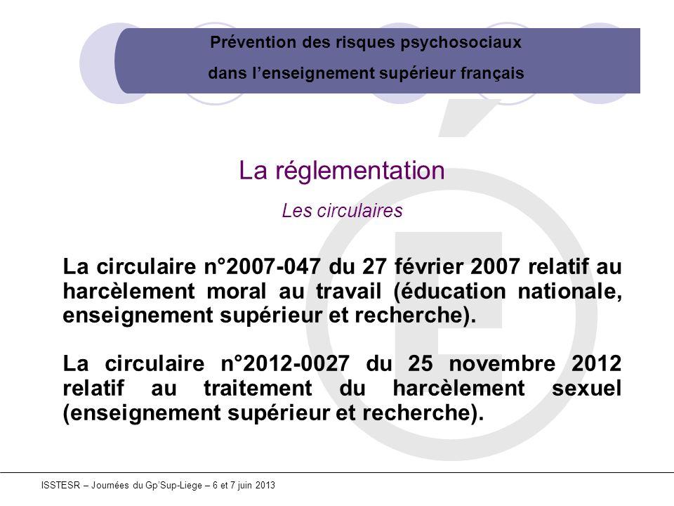 Prévention des risques psychosociaux dans lenseignement supérieur français ISSTESR – Journées du GpSup-Liege – 6 et 7 juin 2013 La réglementation Les