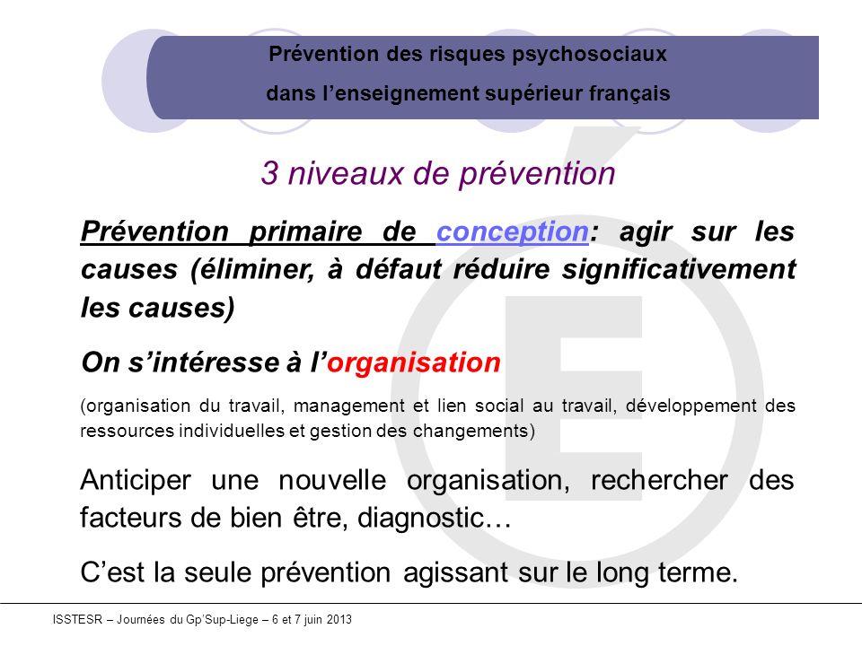 Prévention des risques psychosociaux dans lenseignement supérieur français ISSTESR – Journées du GpSup-Liege – 6 et 7 juin 2013 3 niveaux de préventio
