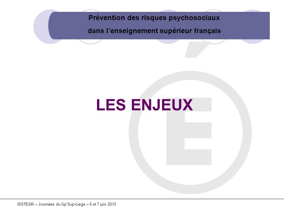 Prévention des risques psychosociaux dans lenseignement supérieur français ISSTESR – Journées du GpSup-Liege – 6 et 7 juin 2013 Au sein de lUnion européenne : 22% des salariés souffrent de stress 5% ont subi un harcèlement 5% sont victimes de violence physique Fondation européenne pour lamélioration des conditions de vie et de travail (4ème enquête européenne 2007) En France : 49,3 % des salariés sont concernés par le stress 25,3 % sont dans un état d « hyper-stress » (MSP 25) Panel « STIMULUS » de plus de 60 000 salariés (janvier 2011) Le stress est le problème de santé le plus répandu dans le monde du travail et va probablement saggraver Agence européenne de sécurité et de santé au travail (Expert Forecast 2007)