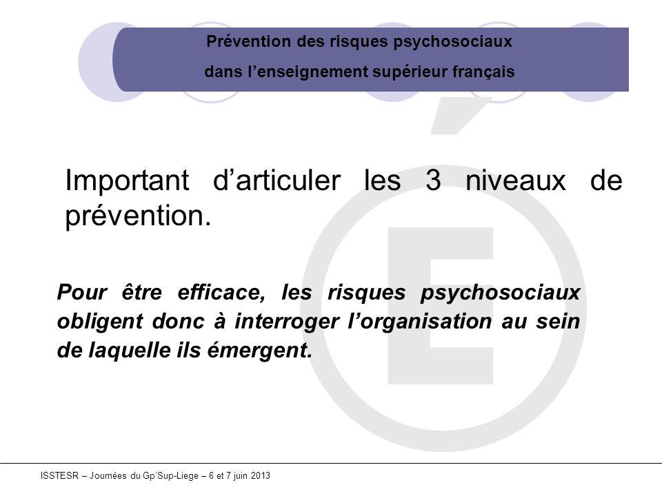 Prévention des risques psychosociaux dans lenseignement supérieur français ISSTESR – Journées du GpSup-Liege – 6 et 7 juin 2013 Pour être efficace, le