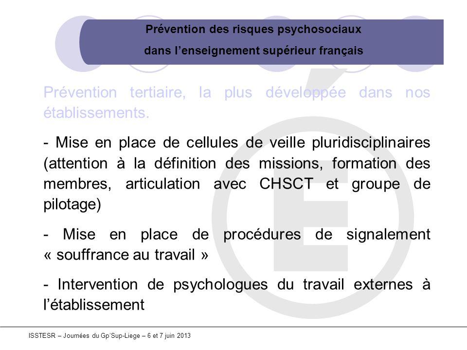 Prévention des risques psychosociaux dans lenseignement supérieur français ISSTESR – Journées du GpSup-Liege – 6 et 7 juin 2013 Prévention tertiaire,