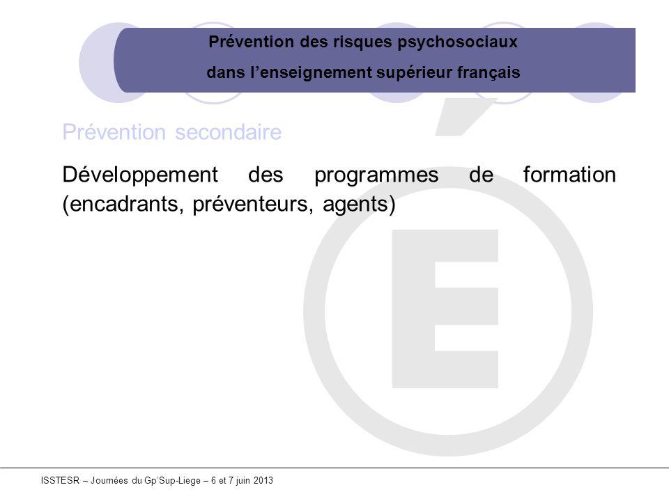 Prévention des risques psychosociaux dans lenseignement supérieur français ISSTESR – Journées du GpSup-Liege – 6 et 7 juin 2013 Prévention secondaire