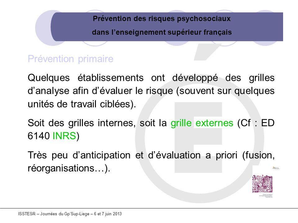 Prévention des risques psychosociaux dans lenseignement supérieur français ISSTESR – Journées du GpSup-Liege – 6 et 7 juin 2013 Prévention primaire Qu