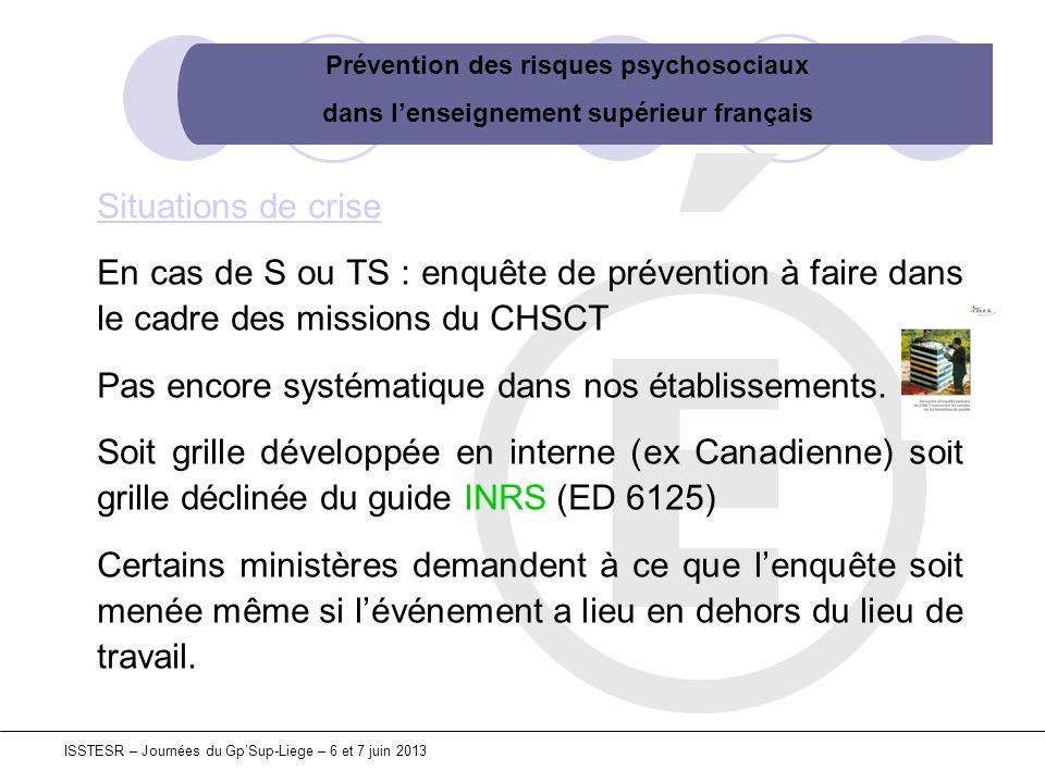 Prévention des risques psychosociaux dans lenseignement supérieur français ISSTESR – Journées du GpSup-Liege – 6 et 7 juin 2013 Situations de crise En