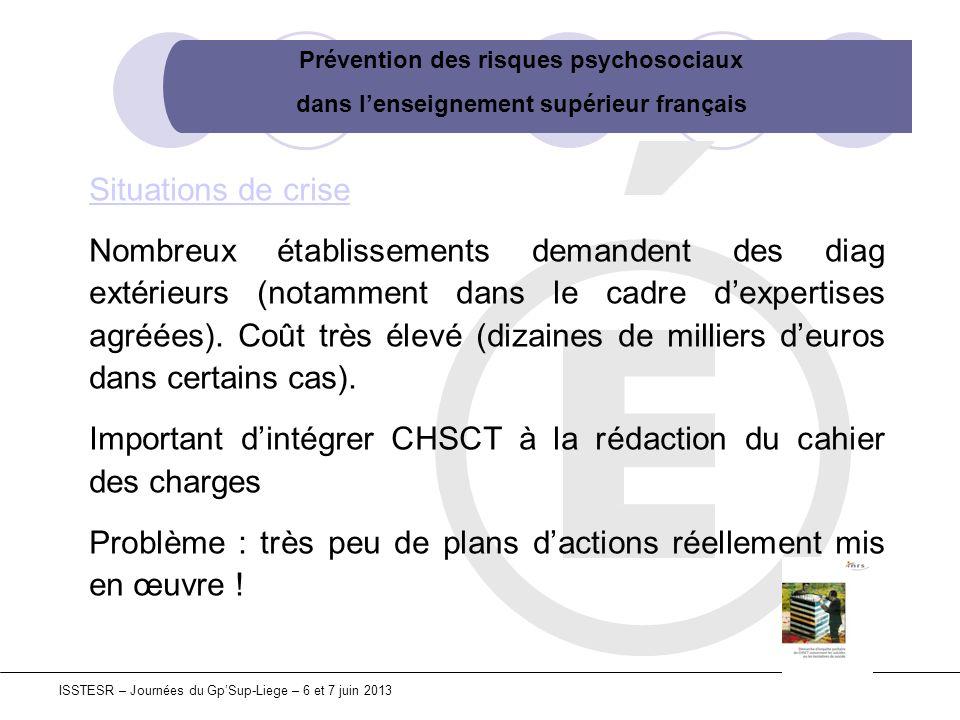 Prévention des risques psychosociaux dans lenseignement supérieur français ISSTESR – Journées du GpSup-Liege – 6 et 7 juin 2013 Situations de crise No