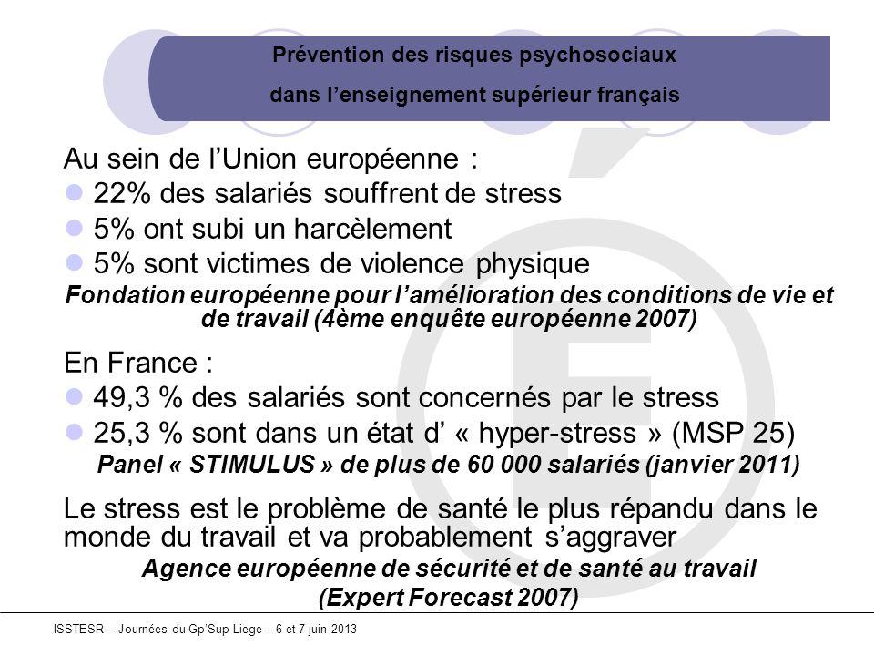 Prévention des risques psychosociaux dans lenseignement supérieur français ISSTESR – Journées du GpSup-Liege – 6 et 7 juin 2013 Au sein de lUnion euro