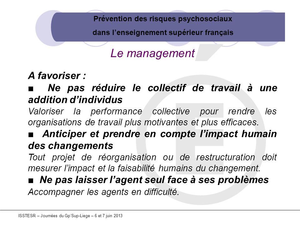 Prévention des risques psychosociaux dans lenseignement supérieur français ISSTESR – Journées du GpSup-Liege – 6 et 7 juin 2013 Le management A favori
