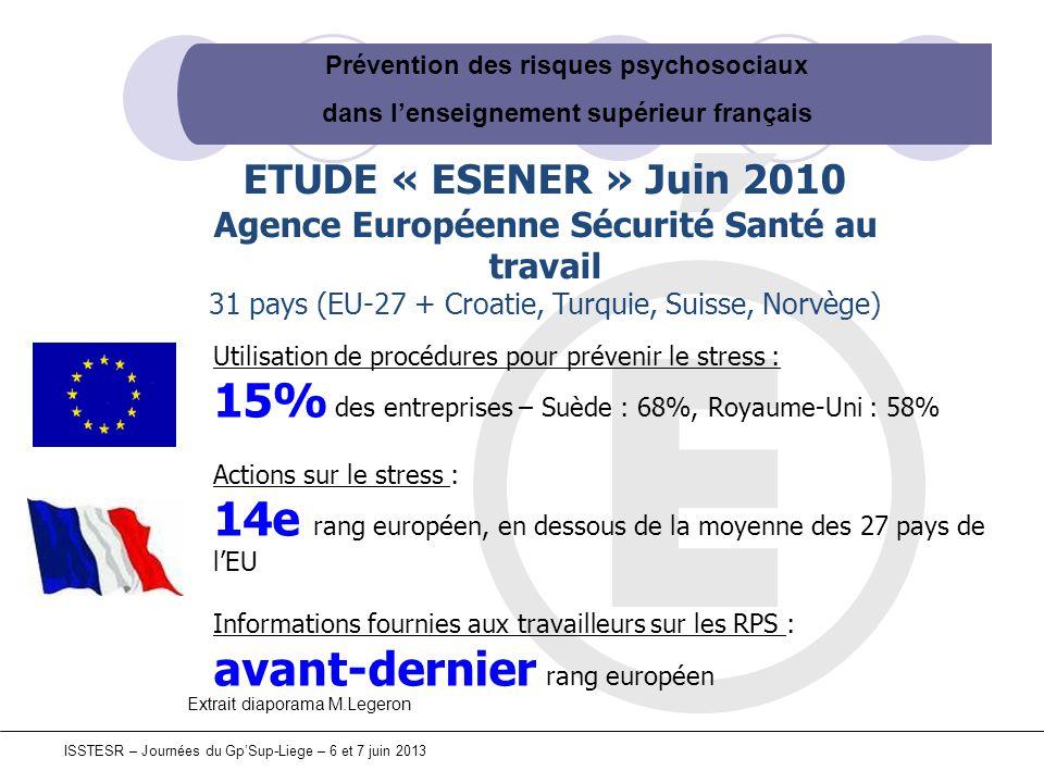 Prévention des risques psychosociaux dans lenseignement supérieur français ISSTESR – Journées du GpSup-Liege – 6 et 7 juin 2013 ETUDE « ESENER » Juin