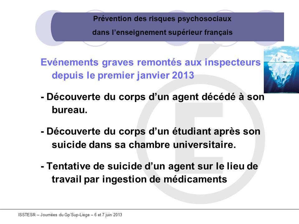 Prévention des risques psychosociaux dans lenseignement supérieur français ISSTESR – Journées du GpSup-Liege – 6 et 7 juin 2013 Evénements graves remo