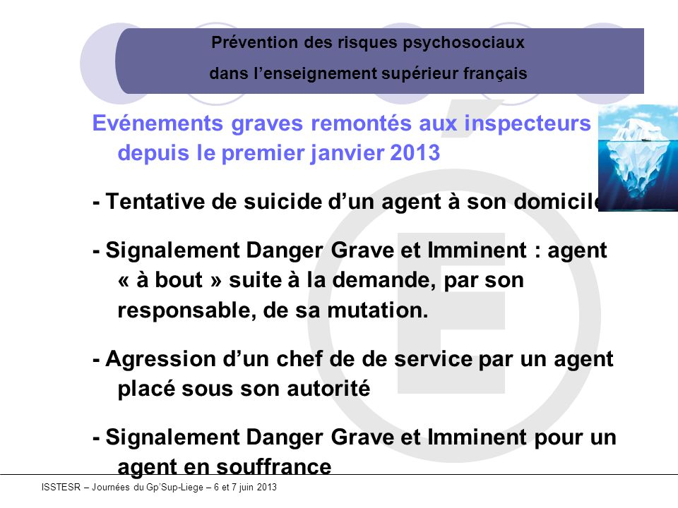 Prévention des risques psychosociaux dans lenseignement supérieur français ISSTESR – Journées du GpSup-Liege – 6 et 7 juin 2013 Pour être efficace, les risques psychosociaux obligent donc à interroger lorganisation au sein de laquelle ils émergent.