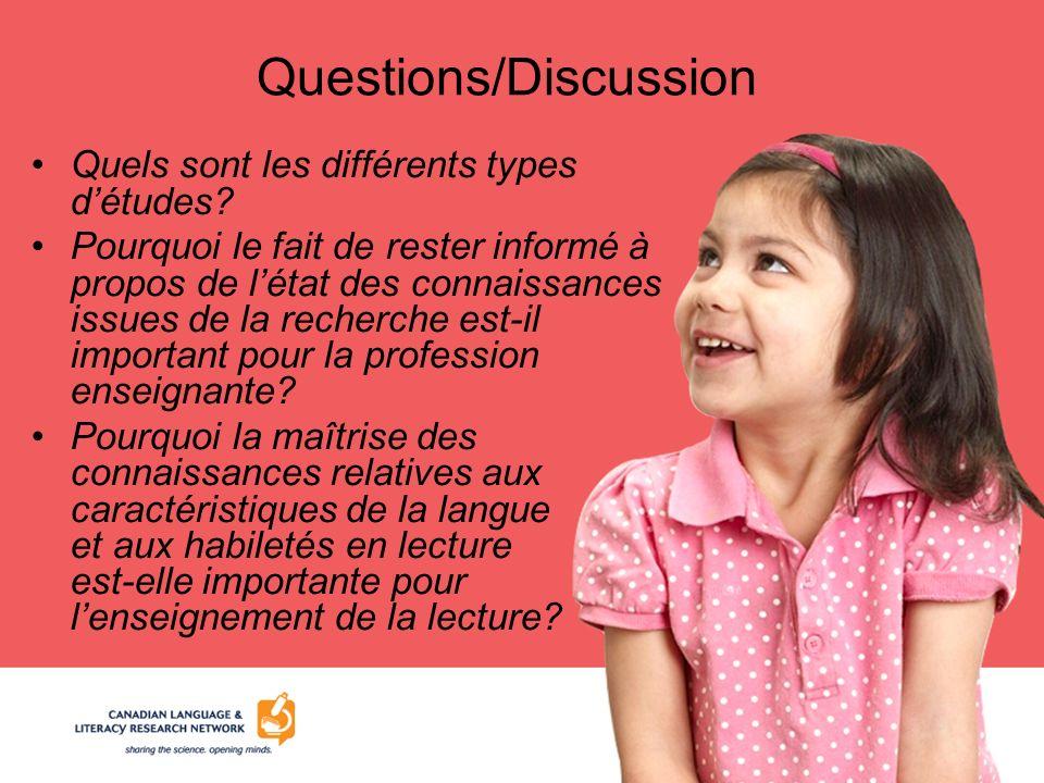 Questions/Discussion Quels sont les différents types détudes? Pourquoi le fait de rester informé à propos de létat des connaissances issues de la rech