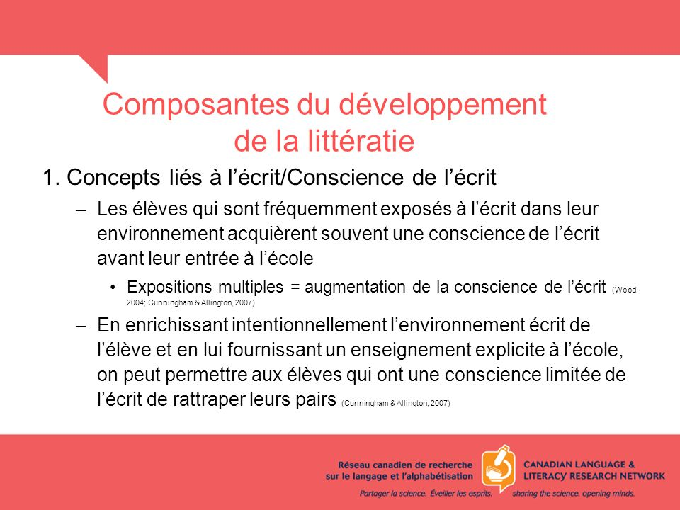 Composantes du développement de la littératie 1. Concepts liés à lécrit/Conscience de lécrit –Les élèves qui sont fréquemment exposés à lécrit dans le