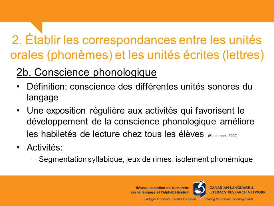 2. Établir les correspondances entre les unités orales (phonèmes) et les unités écrites (lettres) 2b. Conscience phonologique Définition: conscience d