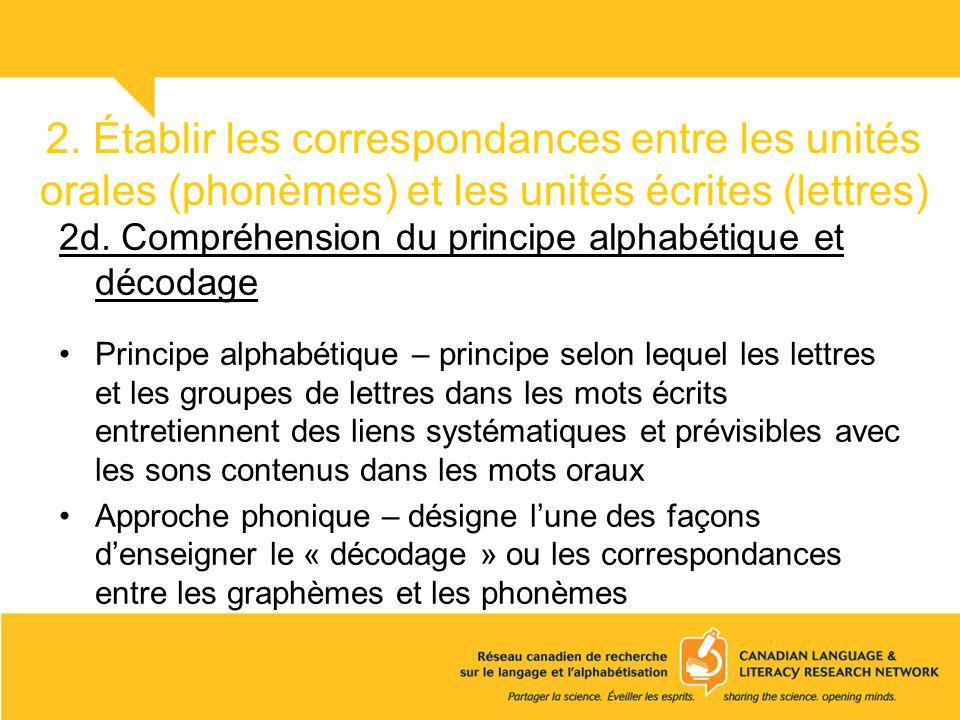 2. Établir les correspondances entre les unités orales (phonèmes) et les unités écrites (lettres) 2d. Compréhension du principe alphabétique et décoda