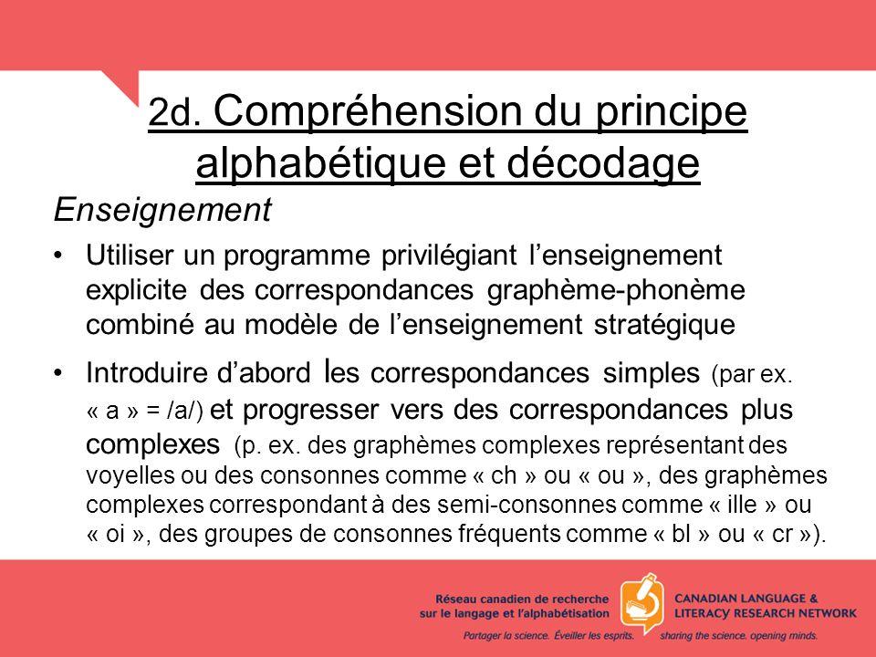 2d. Compréhension du principe alphabétique et décodage Enseignement Utiliser un programme privilégiant lenseignement explicite des correspondances gra