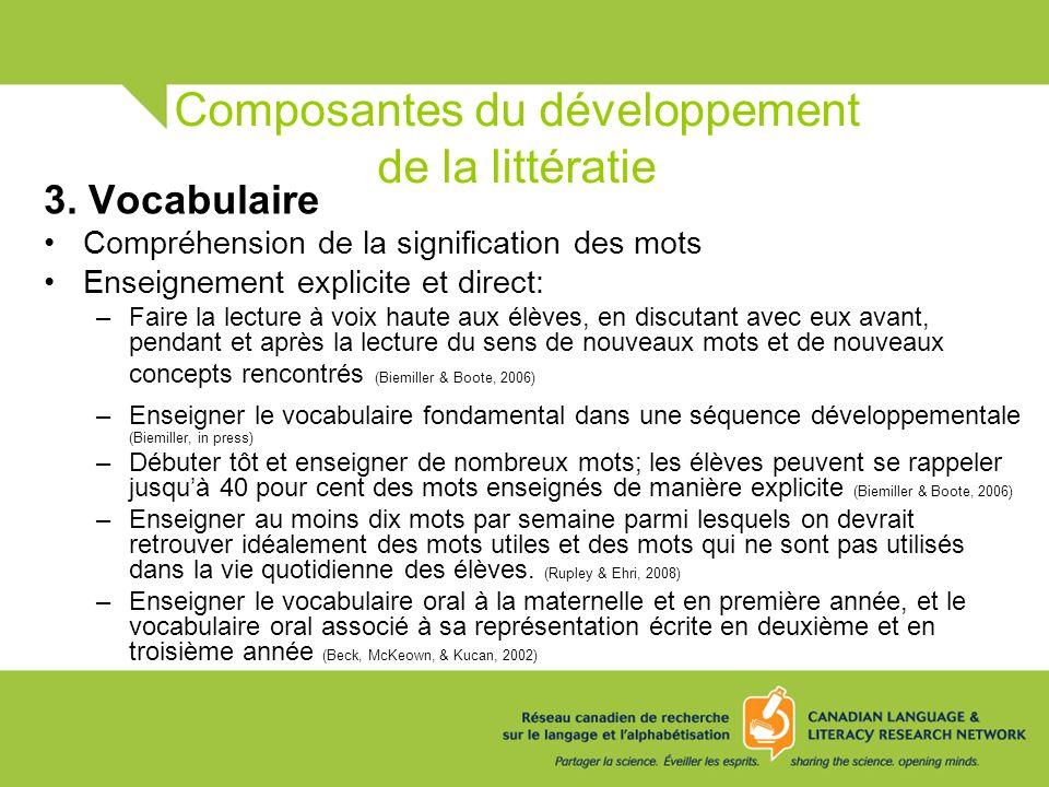Composantes du développement de la littératie 3. Vocabulaire Compréhension de la signification des mots Enseignement explicite et direct: –Faire la le