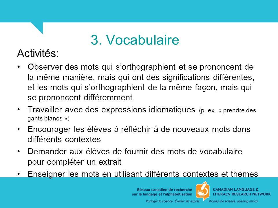 3. Vocabulaire Activités: Observer des mots qui sorthographient et se prononcent de la même manière, mais qui ont des significations différentes, et l