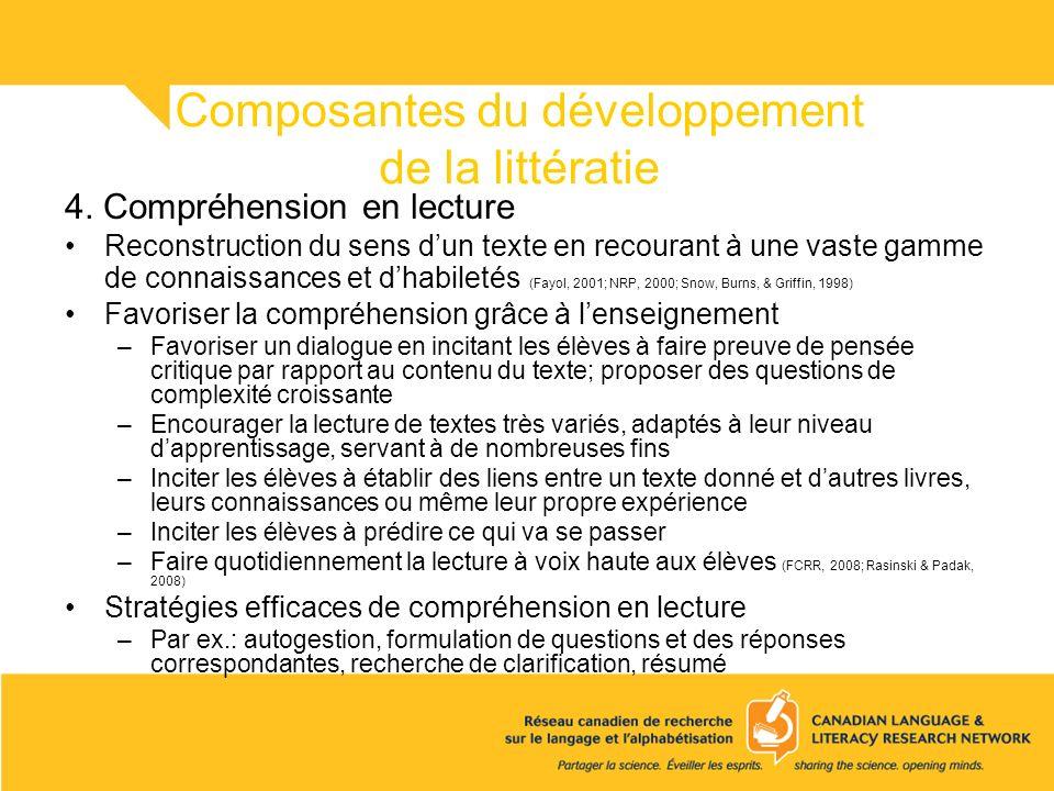 Composantes du développement de la littératie 4. Compréhension en lecture Reconstruction du sens dun texte en recourant à une vaste gamme de connaissa
