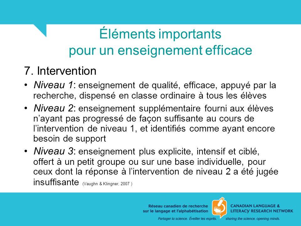 Éléments importants pour un enseignement efficace 7. Intervention Niveau 1: enseignement de qualité, efficace, appuyé par la recherche, dispensé en cl